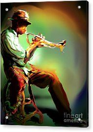Horn Player II Acrylic Print by Mike Massengale