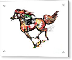 Horse Racing In Fast Colors Acrylic Print by Stacey Mayer