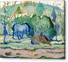 Horses Grazing Acrylic Print by Franz Marc