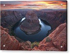 Horseshoe Bend Sunset Acrylic Print by Loree Johnson