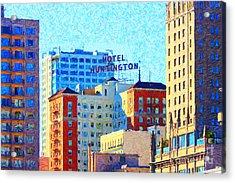 Hotel Huntington Acrylic Print by Wingsdomain Art and Photography