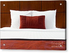 Hotel Room Bed And Pillows Acrylic Print by Paul Velgos