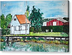 House By The Lake Acrylic Print by Monica Engeler
