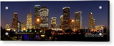 Houston Skyline At Night Acrylic Print by Jon Holiday
