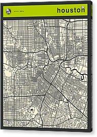 Houston Street Map Acrylic Print by Jazzberry Blue