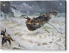 How The Boat Came Home Acrylic Print by  Charles Napier Hemy