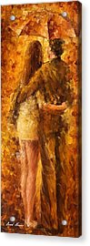 Hug Under The Rain - Palette Knife Oil Painting On Canvas By Leonid Afremov Acrylic Print by Leonid Afremov
