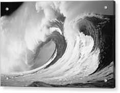 Huge Curling Wave - Bw Acrylic Print by Ali ONeal - Printscapes