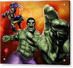 Hulk Acrylic Print by Pete Tapang