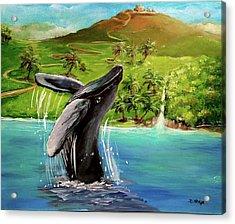Humpback Whale Breaching At Haleakala Hawaii Acrylic Print by Bernadette Krupa