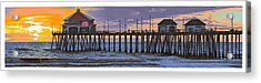 Huntington Pier Sunset Acrylic Print by Andrew Palmer