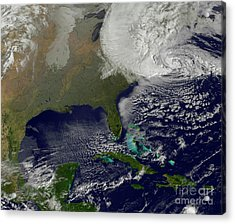 Hurricane Sandy Battering The United Acrylic Print by Stocktrek Images