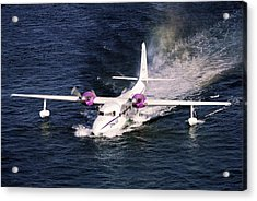 Hydroplane Splashdown Acrylic Print by Sally Weigand