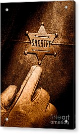 I Am The Law - Sepia Acrylic Print by Olivier Le Queinec