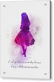 I Can't Go Back To Yesterday Acrylic Print by Rebecca Jenkins