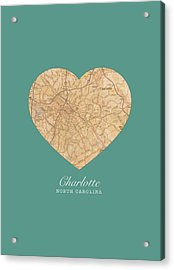 I Heart Charlotte North Carolina Vintage City Street Map Americana Series No 008 Acrylic Print by Design Turnpike