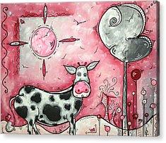 I Love Moo Original Madart Painting Acrylic Print by Megan Duncanson