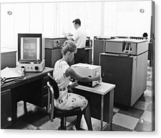 Ibm Microfiche Cards Acrylic Print by Underwood Archives