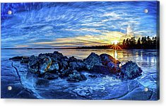 Icebound Sunset Acrylic Print by ABeautifulSky Photography