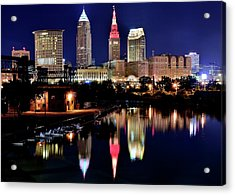 Iconic Night View Of Cleveland Acrylic Print by Frozen in Time Fine Art Photography