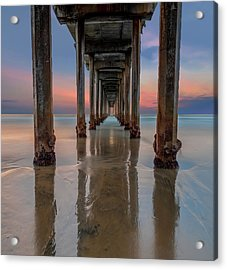Iconic Scripps Pier Acrylic Print by Larry Marshall