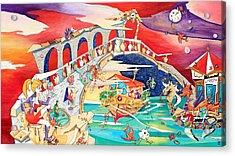 Il Battello Dei Sogni - Ponte Di Rialto Acrylic Print by Arte Venezia