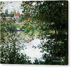 Ile De La Grande Jatte Through The Trees Acrylic Print by Claude Monet