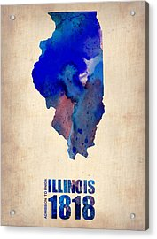 Illinois Watercolor Map Acrylic Print by Naxart Studio