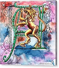 Illuminated Letter A Acrylic Print by Genevieve Esson
