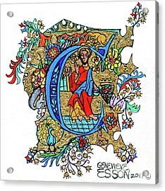 Illuminated Letter C Acrylic Print by Genevieve Esson