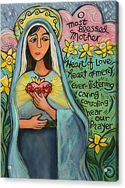 Immaculate Heart Of Mary Acrylic Print by Jen Norton