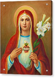 Immaculate Heart Of Mary Acrylic Print by Svitozar Nenyuk