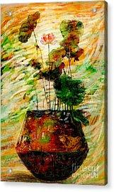 Impression In Lotus Tree Acrylic Print by Atiketta Sangasaeng