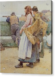 In A Cornish Fishing Village Acrylic Print by Walter Langley