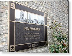 Acrylic Print featuring the photograph In Memoriam - Ypres by Travel Pics