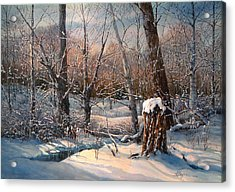 Snow Scenes In Watercolors Acrylic Print featuring the painting In The Midst Of Winter by Maryann Boysen