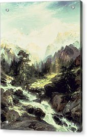 In The Teton Range Acrylic Print by Thomas Moran