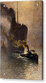 In Tow On The Thames In The Fog Acrylic Print by Emile Claus