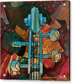 In Tune - String Instrument Scroll In Blue Acrylic Print by Susanne Clark