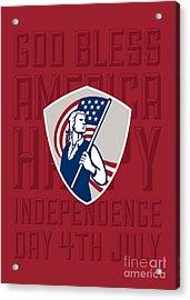 Independence Day Greeting Card-american Patriot Holding Usa Flag Shield Acrylic Print by Aloysius Patrimonio