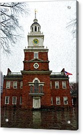 Independence Hall In Philadelphia Acrylic Print by Bill Cannon