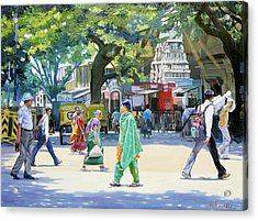 India Street Scene 2 Acrylic Print by Dominique Amendola