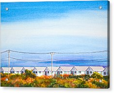 Indian Summer Days Cottages North Truro Massachusetts Watercolor Painting Acrylic Print by Michelle Wiarda