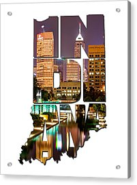Indiana Typography - Indianapolis Skyline - Canal Walk Bridge View Acrylic Print by Gregory Ballos