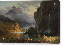Indians Spear Fishing Acrylic Print by Albert Bierstadt
