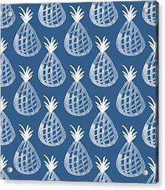 Indigo Pineapple Party Acrylic Print by Linda Woods