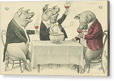 Ine Food And Song With Boars Acrylic Print by Artist from the past
