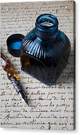 Ink Bottle On Document  Acrylic Print by Garry Gay