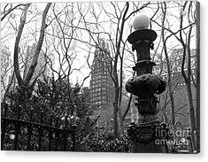 Into Bryant Park Mono Acrylic Print by John Rizzuto