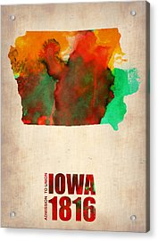 Iowa Watercolor Map Acrylic Print by Naxart Studio